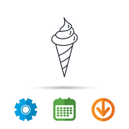 Ice cream icon. Sweet dessert in waffle cone sign. Frozen food symbol. Calendar, cogwheel and download arrow signs. Colored flat web icons. Vector