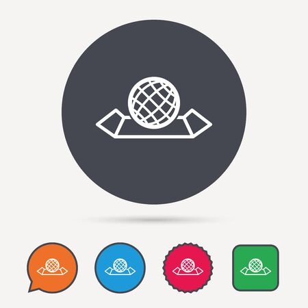 World map icon globe sign travel location symbol calendar 74322217 world map icon globe sign travel location symbol circle speech bubble and star buttons flat web icons vector gumiabroncs Images