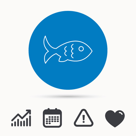 aquaculture: Fish with fin and scales icon. Seafood sign. Vegetarian food symbol. Calendar, attention sign and growth chart. Button with web icon. Vector