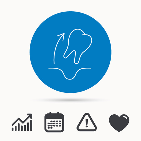Tooth extraction icon. Dental paradontosis sign. Calendar, attention sign and growth chart. Button with web icon. Vector
