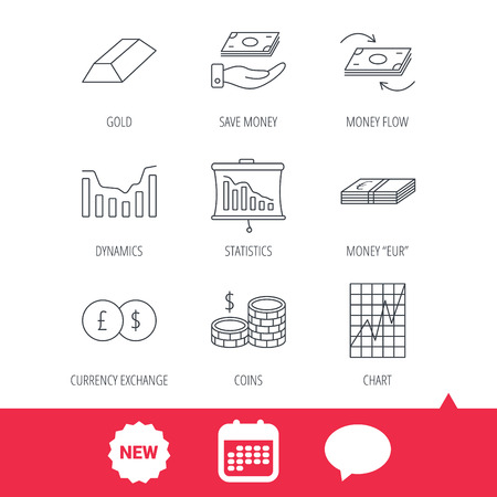 deceleration: Banking, cash money and statistics icons. Money flow, gold bar and dollar usd linear signs. Dynamics chart, coins and savings icons. New tag, speech bubble and calendar web icons. Vector Illustration