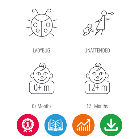 Infant child, ladybug and 0+ months child icons. Unattended child linear sign. Award medal, growth chart and opened book web icons. Download arrow. Vector