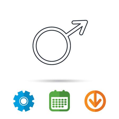 Mannelijk pictogram. Heren seksualiteit teken. Kalender, tandrad en downloadpijlborden. Gekleurde platte web iconen. Vector