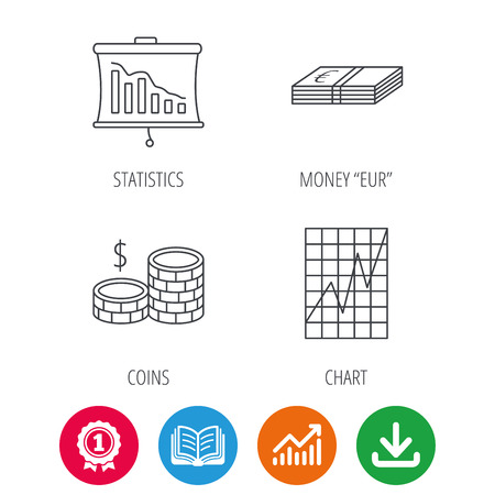 deceleration: Chart, cash money and statistics icons. Coins linear sign. Award medal, growth chart and opened book web icons. Download arrow. Vector Illustration