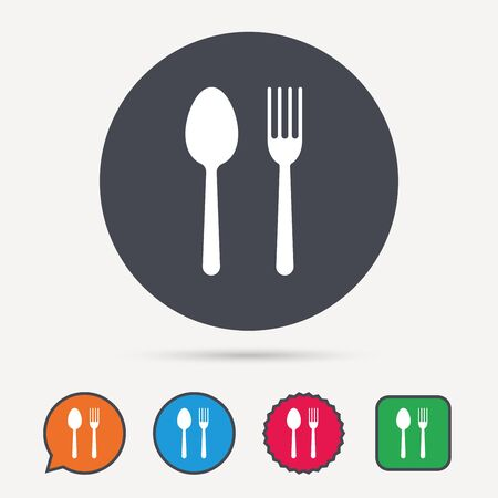 Food icons. Fork and spoon signs. Cutlery symbol. Circle, speech bubble and star buttons. Flat web icons. Vector Illustration