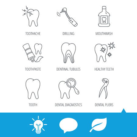 Tooth, stomatology and toothache icons. Mouthwash, dental pliers and diagnostics linear signs. Dentinal tubules, drilling icons. Light bulb, speech bubble and leaf web icons. Vector Illustration