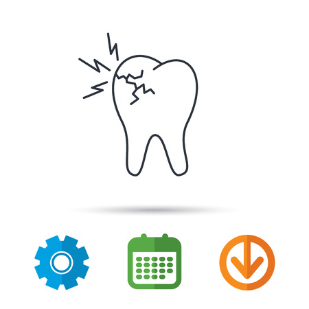 Toothache icon. Dental healthcare sign. Calendar, cogwheel and download arrow signs. Colored flat web icons. Vector