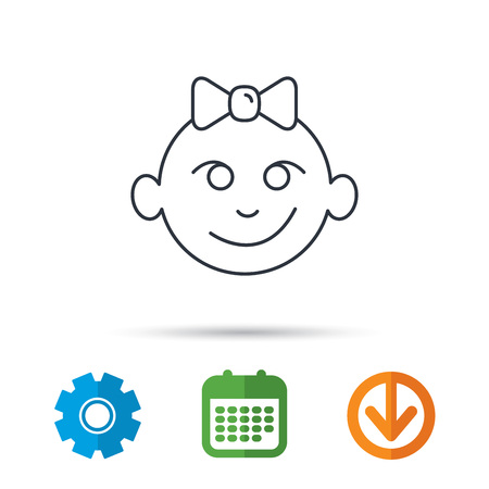 Baby girl face icon. Child with smile sign. Newborn with bow symbol. Calendar, cogwheel and download arrow signs. Colored flat web icons. Vector