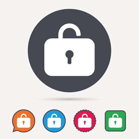 Lock icon. Privacy locker sign. Private access symbol. Circle, speech bubble and star buttons. Flat web icons. Vector