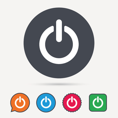 On Off Power Icon Energy Switch Symbol Circle Speech Bubble