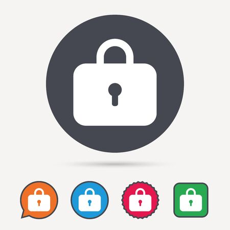 Lock icon. Privacy locker sign. Closed access symbol. Circle, speech bubble and star buttons. Flat web icons. Vector