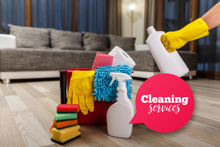 Cleaning service. Bucket with sponges, chemicals bottles and plunger. Hand in rubber glove holding a bottle. Speech bubble. Paper towel. Household equipment.