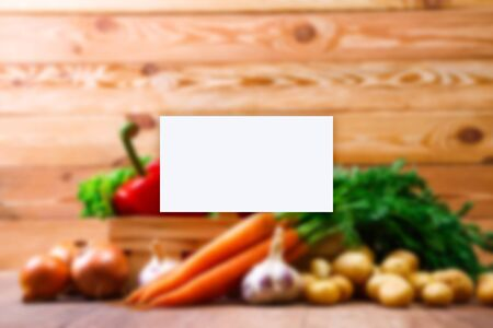 organic farm: Business card mockup. Vegetables. Potatoes, carrot and red pepper. Garlic, onion and brocoli. Lettuce salad and red radish.