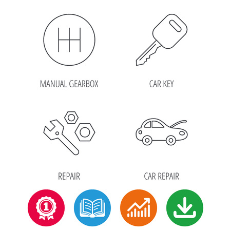 Car key, repair tools and manual gearbox icons. Car repair, transmission linear signs. Award medal, growth chart and opened book web icons. Download arrow. Vector Illustration