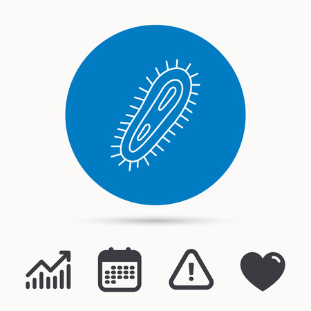 infected: Bacteria icon. Medicine infection symbol. Bacterium or microbe sign. Calendar, attention sign and growth chart. Button with web icon. Vector Illustration