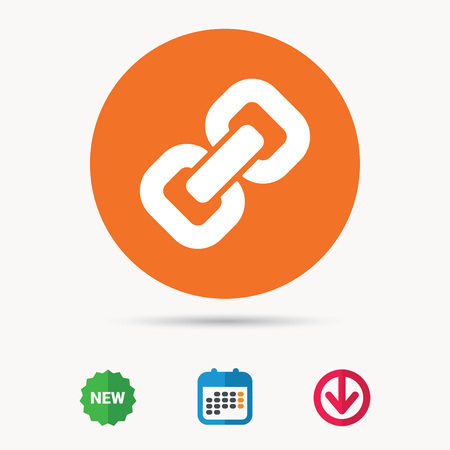 Chain icon. Internet web hyperlink symbol. Calendar, download arrow and new tag signs. Colored flat web icons. Vector