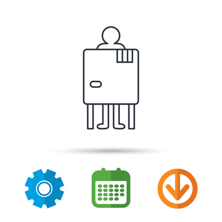gearwheel: Beach changing cabin icon. Human symbol. Calendar, cogwheel and download arrow signs. Colored flat web icons. Vector
