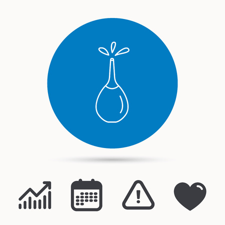 enema: Medical clyster icon. Enema with water drops sign. Calendar, attention sign and growth chart. Button with web icon. Vector