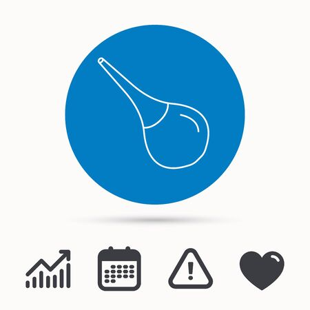 enema: Medical clyster icon. Enema sign. Calendar, attention sign and growth chart. Button with web icon. Vector
