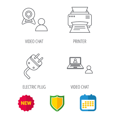 portative: Video chat, printer and electric plug icons. Video conference linear sign. Shield protection, calendar and new tag web icons. Vector