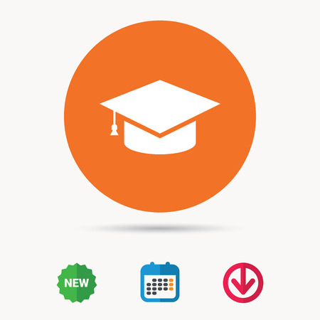 Education icon. Graduation cap symbol. Calendar, download arrow and new tag signs. Colored flat web icons. Vector
