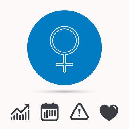 Vrouwelijk pictogram. Het geslachtsteken van vrouwen. Kalender, aandachtsteken en groeimeter. Knop met web pictogram. Vector