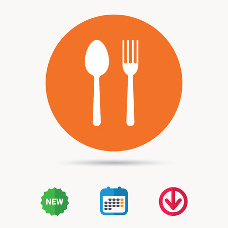 Food icons. Fork and spoon signs. Cutlery symbol. Calendar, download arrow and new tag signs.