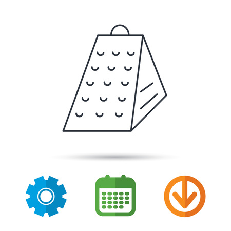 grated cheese: Grater icon. Kitchen tool sign. Kitchenware slicer symbol. Calendar, cogwheel and download arrow signs. Colored flat web icons. Vector Illustration