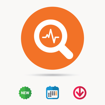 down beat: Heartbeat in magnifying glass icon. Cardiology symbol. Medical pressure sign. Calendar, download arrow and new tag signs. Colored flat web icons. Vector