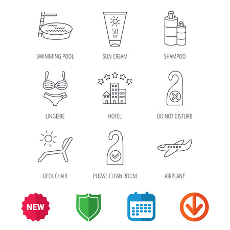 Hotel, swimming pool and beach deck chair icons. Sun cream, do not disturb and clean room linear signs. Shampoo and airplane icons. New tag, shield and calendar web icons. Download arrow. Vector