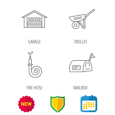 Mailbox, garage and fire hose icons. Trolley linear sign. Shield protection, calendar and new tag web icons. Vector