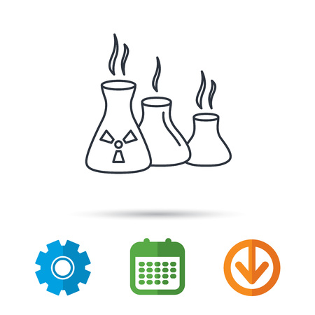 poison arrow: Industry building icon. Manufacturing sign. Chemical toxic production symbol. Calendar, cogwheel and download arrow signs. Colored flat web icons. Vector Illustration