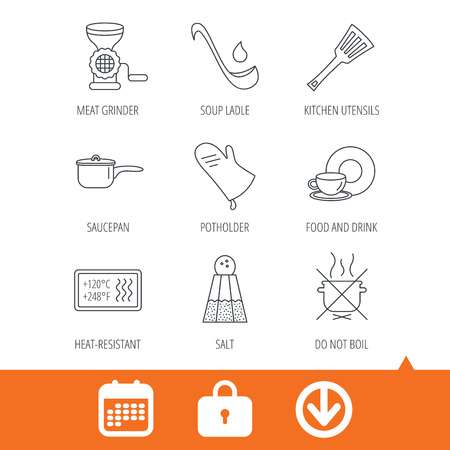 meat  grinder: Soup ladle, potholder and kitchen utensils icons. Salt, not boil and saucepan linear signs. Meat grinder, water drop and coffee cup icons. Download arrow, locker and calendar web icons. Vector