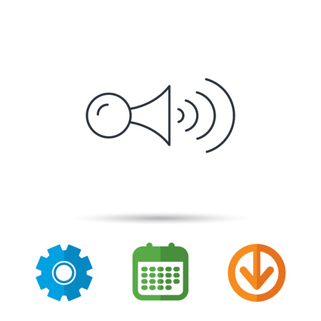 Klaxon signal icon. Car horn sign. Calendar, cogwheel and download arrow signs. Colored flat web icons. Vector