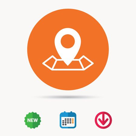 Location icon. Map pointer symbol. Calendar, download arrow and new tag signs. Colored flat web icons. Vector Illustration