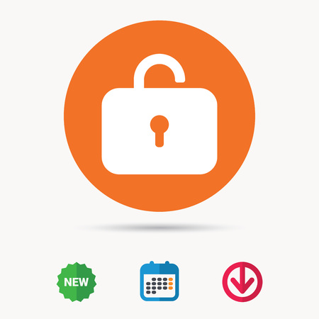 Lock icon. Privacy locker sign. Private access symbol. Calendar, download arrow and new tag signs. Colored flat web icons. Vector Illustration