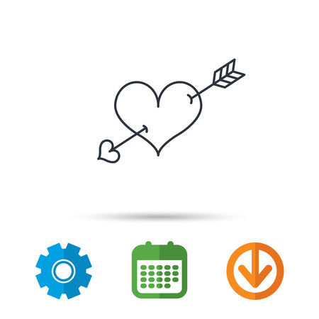 Love heart icon. Amour arrow sign. Calendar, cogwheel and download arrow signs. Colored flat web icons. Vector