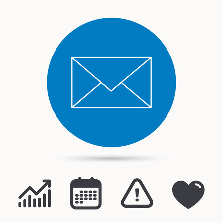 Envelope mail icon. Email message sign. Internet letter symbol. Calendar, attention sign and growth chart. Button with web icon. Vector  イラスト・ベクター素材