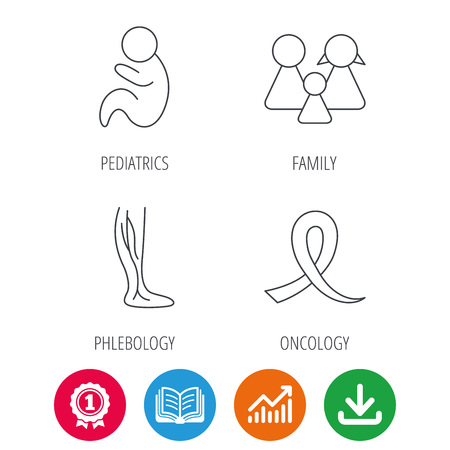 Family, pediatrics and phlebology icons. Oncology awareness ribbon linear sign. Award medal, growth chart and opened book web icons. Download arrow. Vector