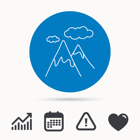 mountaineering: Mountain icon. Hills and clouds sign. Climbing travel symbol. Calendar, attention sign and growth chart. Button with web icon. Vector