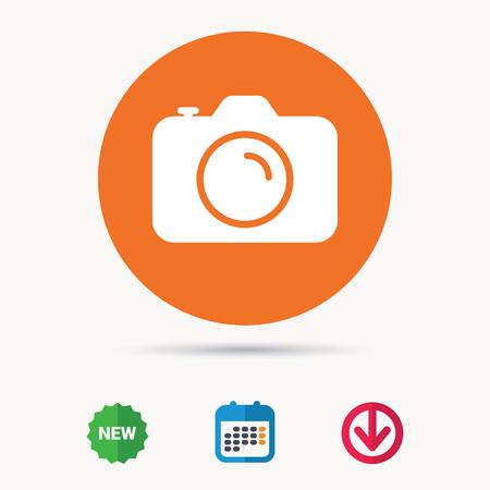 カメラのアイコン。プロ photocamera 記号です。カレンダー、ダウンロードの矢印と新しいタグ標識。フラット色の web アイコン。ベクトル