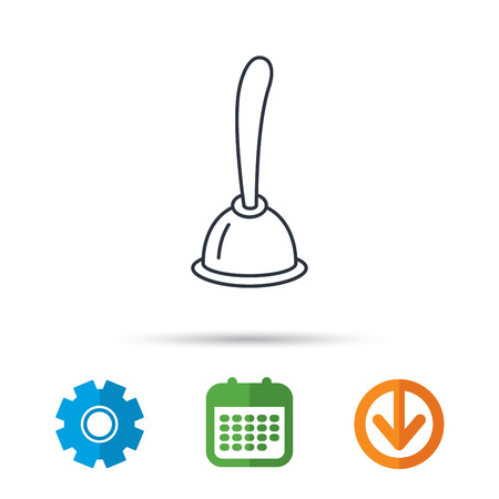 gearwheel: Plunger icon. Toilet cleaning tool sign. Calendar, cogwheel and download arrow signs. Colored flat web icons. Vector
