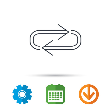 gearwheel: Repeat icon. Full rotation sign. Reload, refresh loop symbol. Calendar, cogwheel and download arrow signs. Colored flat web icons. Vector Illustration