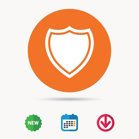 Shield protection icon.Calendar, download arrow and new tag signs. Colored flat web icons. Vector