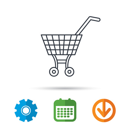 Market buying sign. Calendar, cogwheel and download arrow signs. Colored flat web icons. Vector