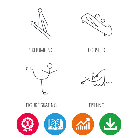 bobsled: Fishing, figure skating and bobsled icons. Ski jumping linear sign. Award medal, growth chart and opened book web icons. Download arrow. Vector