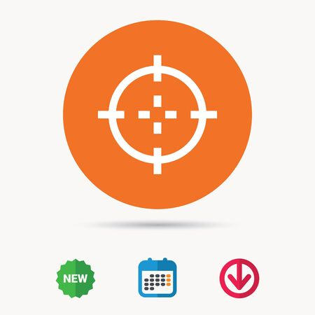 sniper: Target icon. Crosshair aim symbol. Calendar, download arrow and new tag signs. Colored flat web icons. Vector Illustration