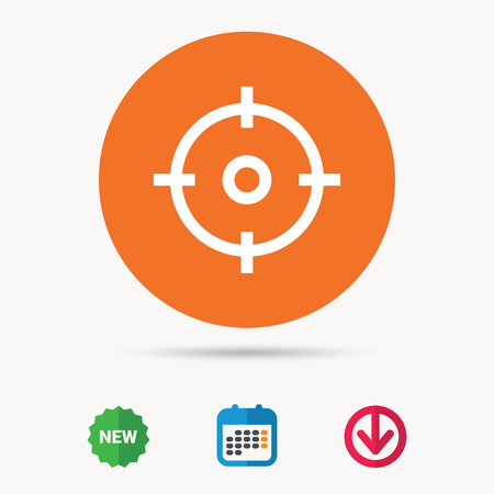 sight: Crosshair aim symbol. Calendar, download arrow and new tag signs. Colored flat web icons. Vector Illustration
