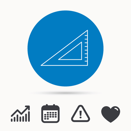 Triangular ruler icon. Straightedge sign. Geometric symbol. Calendar, attention sign and growth chart. Button with web icon.