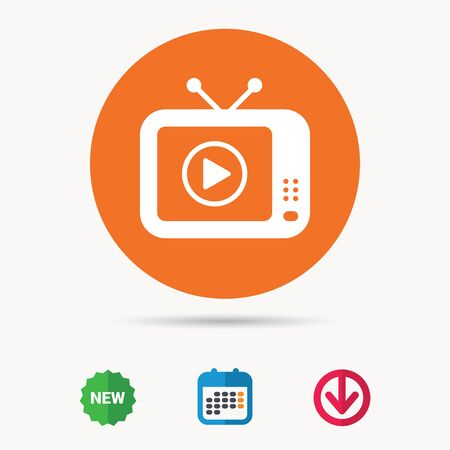 flat screen tv: TV icon. Retro television symbol. Calendar, download arrow and new tag signs. Colored flat web icons.
